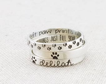 Personalized Pet Jewelry・Personalized Ring ・Paw Print Ring ・ Cat Lover Gift ・ Silver Posey Ring ・ Pet Gift