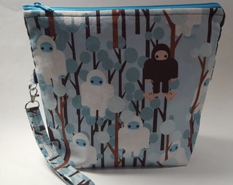 Blue Yeti Project Bag for Knitting or Crochet, Travel/Makeup bag, too!