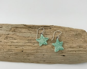 Ceramic Dangle Sea Star / Starfish / Earrings / Turquoise /By Patti Makes