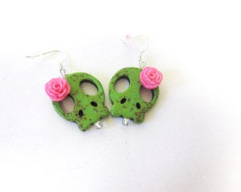 Sugar Skull Earrings Day Of the Dead Jewelry Sliced Green Hot Pink Flower