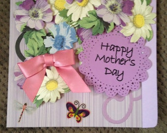 Mother's Day Card/Handmade/3D/Floral/Main Color-Lavender/Butterflies/Pink Bow/Sentiment
