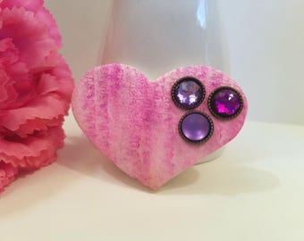 Heart Jewelry, Pink Purple Heart Pin Brooch with Rhinestones, Everyday Jewelry, Handmade Polymer Clay