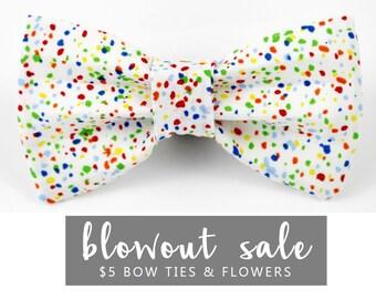 "Birthday Dog Bow Tie Collar Accessory Sale Ready to Ship White Confetti ""Yip Yip Hooray"""