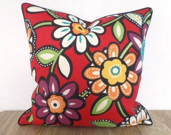 Red outdoor pillow cover Valentines gift for her, flower outdoor cushion case porch decor