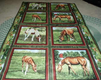Horses Grazing in a Meadow Quilt/Throw/Blanket