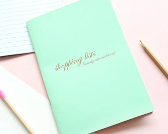 Shopping List, Mainly Cake And Wine Notebook / Gold Foil Notebook / Stationery