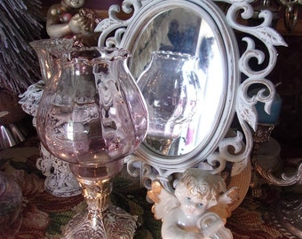 Shabby Chic White  Accent Wall Mirror * Victorian Oval  Framed Mirror * French Cottage Chic Decor * Rococo style Petite Mirror
