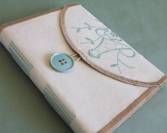 Tea Time Vintage Linen Softcover Embroidered Journal 09 by PrairiePeasant