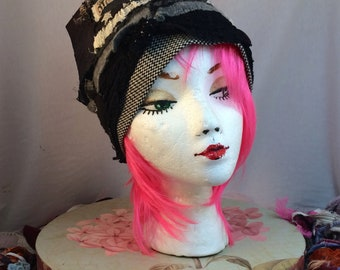 Unique Upcycled couture  wearable Art Hat