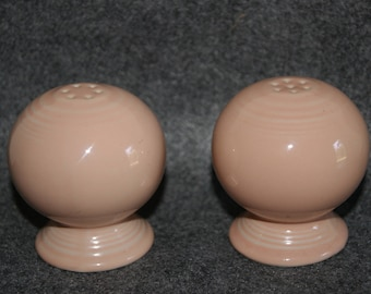 Collectible Ceramic Apricot Color FIESTA Salt And Pepper Shakers With Original Stoppers From 1986 to 1998