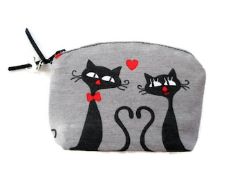 Valentines Day Gift Cat Lover Gift Black Cats Change Purse Coin Purse Cat Zipper Bag Cat Bag Animal Coin Purse Small Purse made in France