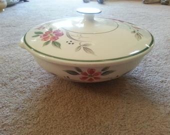 LAST CHANCE SALE!! Vintage Ferrastone China Casserole Dish with Flower Design