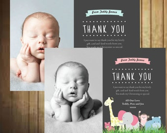 Baby thank you cards, with envelopes, personalised photo thank you, christmas, 10 cards, Christening thank you cards, boy baptism gifts