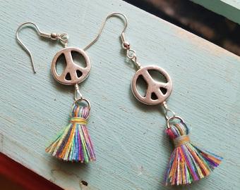 Tassel Peace Sign Silver Plated  Earrings, Peace, Tassel Earrings, Boho Style, Rainbow Tassels, Hippie, Yoga Style, Peace Symbol