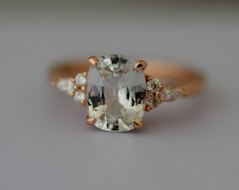Engagement Ring Rose gold engagement ring White Sapphire ring Campari ring cushion Rose gold diamond ring 2.46ct ring by Eidelprecious