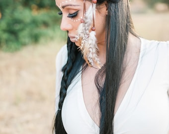 Dreamcatcher Feather Headband - Brown Dreamcatcher - Natural Feathers - Indian Inspired - Festival Rave Fashion Wear - Costumes