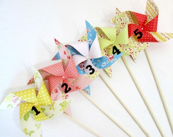 Paper Pinwheels Birthday Decorations Baby Shower Favor Wedding Favors Vintage Flowers Table Centerpiece Photo Prop  Girl's Party Decoration