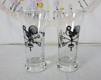 Vintage Rooster, American Indian and Weathervane Shot Glasses, 1950s MidCentury Libbey Double Shot Glasses, Set of 2, Beer Chasers