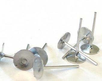 Set of 10 metal nickel/Platinum 6mm ear studs