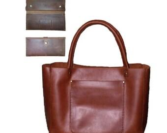Leather tote bag, leather bag, leather tote, leather handbag, large leather tote - Double PLUS leather wallet