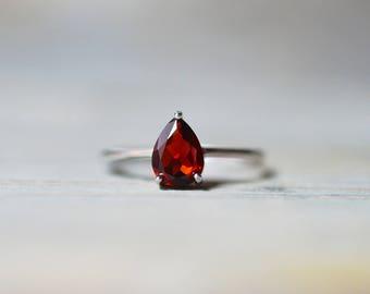 Garnet Ring, Red Stone Ring, Tear Drop Natural Garnet, January Birthstone Ring, Sterling Silver Promise Ring, Engagement Ring, Wedding Ring