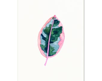 Botanical Watercolor Art Print. Pink Ficus Art Print. Botanical Gallery Wall Art. Kitchen Art. Gift For Her. Watercolor Tropical Leaf Print.