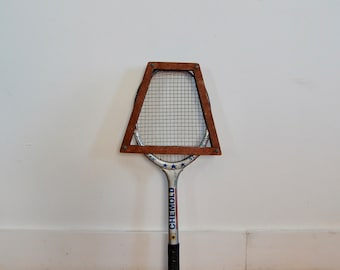 Vintage Racquet - Tennis Racquet with Blue and Red Details - Chemold Fiber Star Number One - Raquet with Wooden Case - Vtg Sporting Goods