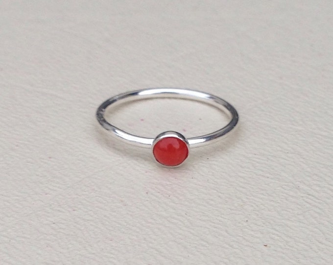 Coral ring sterling silver stackable made to order