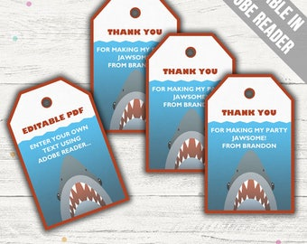 Shark Party Favor Bag Tags. Printable PDF (EDITABLE). Instant Download.
