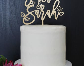 Personalized Modern Rustic Garden Jungalow Floral Wedding Cake Topper | Custom Name