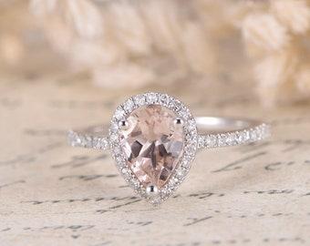Pink Morganite Ring Rose Gold Diamond Wedding Band Deco Diamond HALO Pave Diamond Wedding Ring 5x7mm Pear Cut Morganite Ring Women Ring