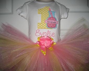 Baby Girl Pink Lemonade First Birthday tutu set, Girls Birthday personalized tutu set