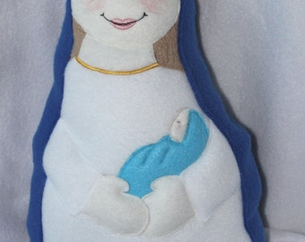 Mother Mary with Baby Jesus Soft Saint Doll, Mother and Child Doll, Virgin Mary Doll, Our Lady, Christmas Doll, Soft & Perfect to Snuggle.