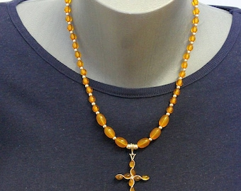 Baltic Amber and Sterling Necklace with Artisan Handmade Amber and Silver Cross Pendant