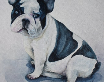 """Greeting Card 5 X 7 """" Frenchie"""". Greeting Card. Thank you card. French Bulldog. Bulldog picture.Watercolor french bulldog. Pet greeting card"""