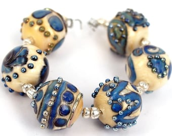 Lampwork glass beads Round Metallic Stones Lampwork bead(6)SRA, jewelry supplies, handmade lampwork, beads
