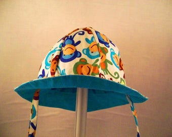 Reversible baby sun hat with ties size 0-6,  6-12 months baby sunhat animal print wide brimmed sun hat baby beach hat baby summer hat