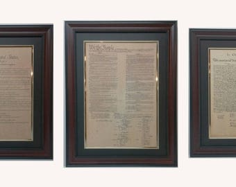 Framed Display Set of Declaration of Independence, US Constitution, Bill of Rights