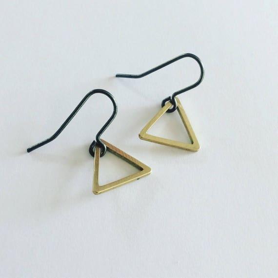 Raw Brass Triangle Earrings on Black Ear Wires - Geometric - Modern - Simple
