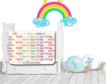 Personalized Rainbow Quote Blanket - Rainbow Baby Blanket - Personalized Swaddle Blanket - Birth Announcement Blanket