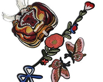 Embroidered Flowers Tiger Butterflies Patches Appliques, Set Mix of Decorative Appliques