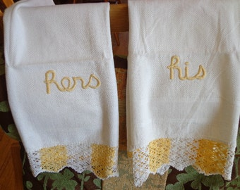 Vintage His and Hers Towels Kitsch Bathroom Decor