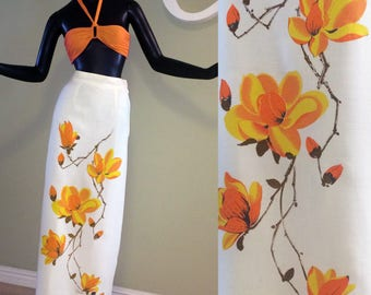 Vintage 60s 70s Alfred Shaheen Hawaiian Maxi Skirt Orange Floral Flowered Flowers Tiki Oasis 1960s 1970s Hippie Boho Beach Wedding Small