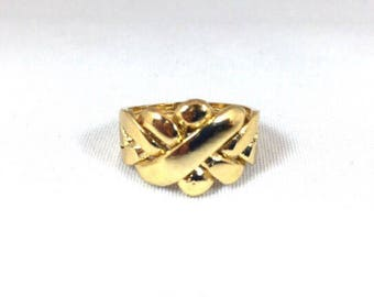 14 kt gold plated Puzzle Ring men's on Sterling Silver