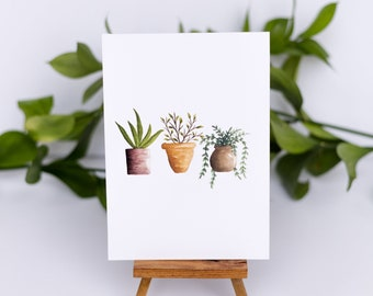 Three Little Plants Watercolor Illustration Print