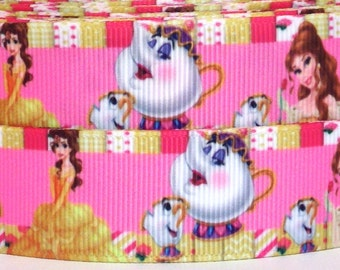 """Beauty and the Beast 1"""" Grosgrain Ribbon - 3 yards Disney Belle Ribbon - Princess Belle Ribbon - Beauty and the Beast Ribbon - Belle Ribbon"""