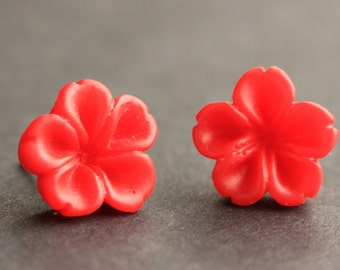 Red Flower Earrings. Red Earrings. Silver Post Earrings. Innie Flower Button Jewelry. Stud Earrings. Handmade Jewelry.