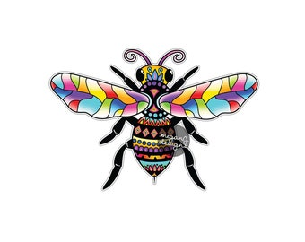 Bee Sticker - Colorful Honeybee Bumper Sticker Laptop Decal Car Decal Multicolor Cute Boho Hippie Insect Art