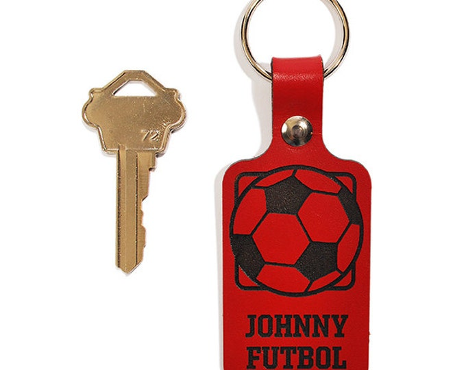 PERSONALIZED KEYRING - Soccer Ball Design - Engraved Leather