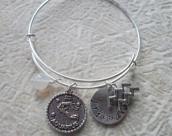 Aquarius Adjustable Bangle - Zodiac Jewelry - What's Your Sign - Air Element - Horoscope Bracelet